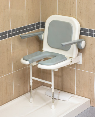 "Deluxe Fold Up ""U"" Shower Seat With Arms"