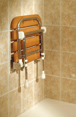 Wooden Shower Seat In Up Position