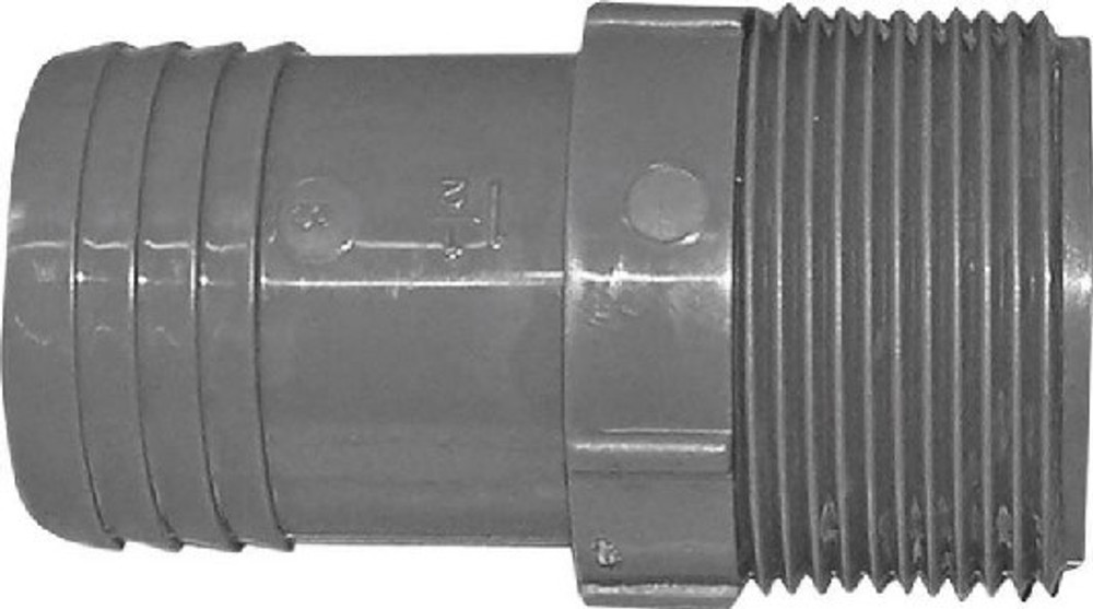 """Barbed Tube Fittings, 1-1/2"""", MPT Adapter, Polypropylene"""