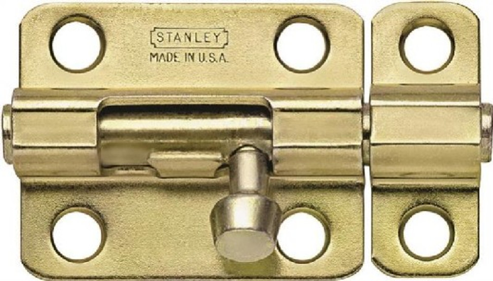 "Barrel Bolt, 4"", Steel, Satin Brass Tone"