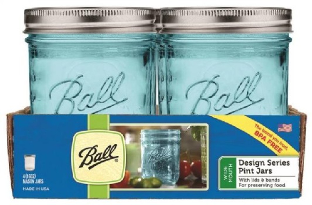 Ball, Cannng Jar, Pint, Blue, 4 Pack