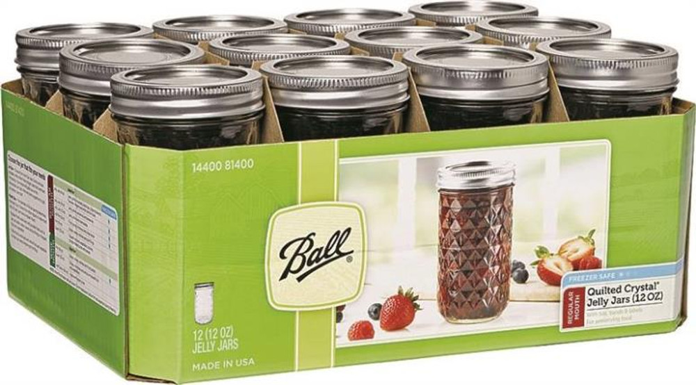 Ball, Canning Jars, Quilted Glass, 12 oz, Wide Mouth, 12 Pack