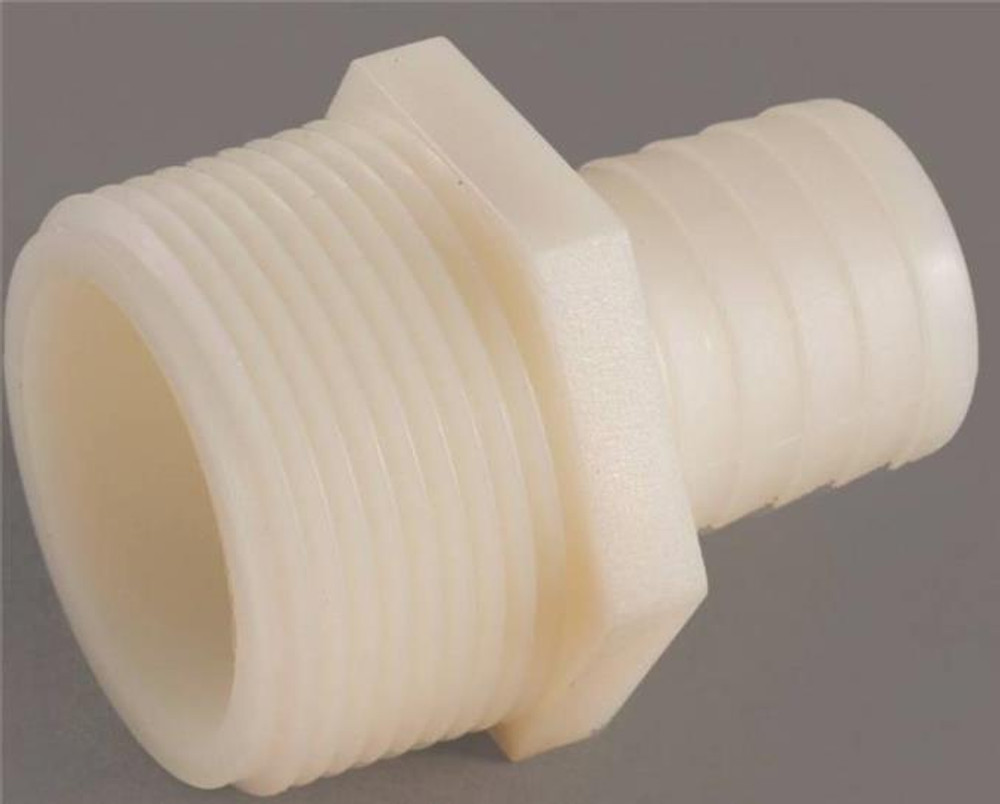 """Barbed Tube Fittings, 1/2"""", Adapter x 3/4"""" MPT, Nylon"""