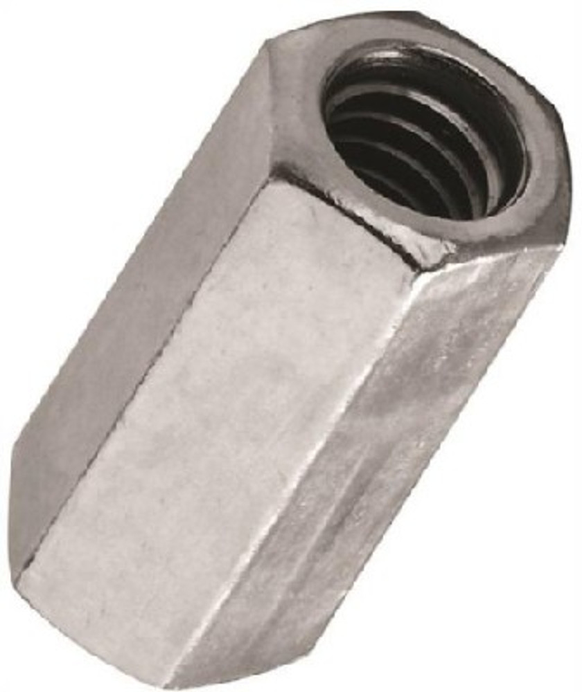 Coupling Nut, 3/8-16, Steel, Zinc Plated