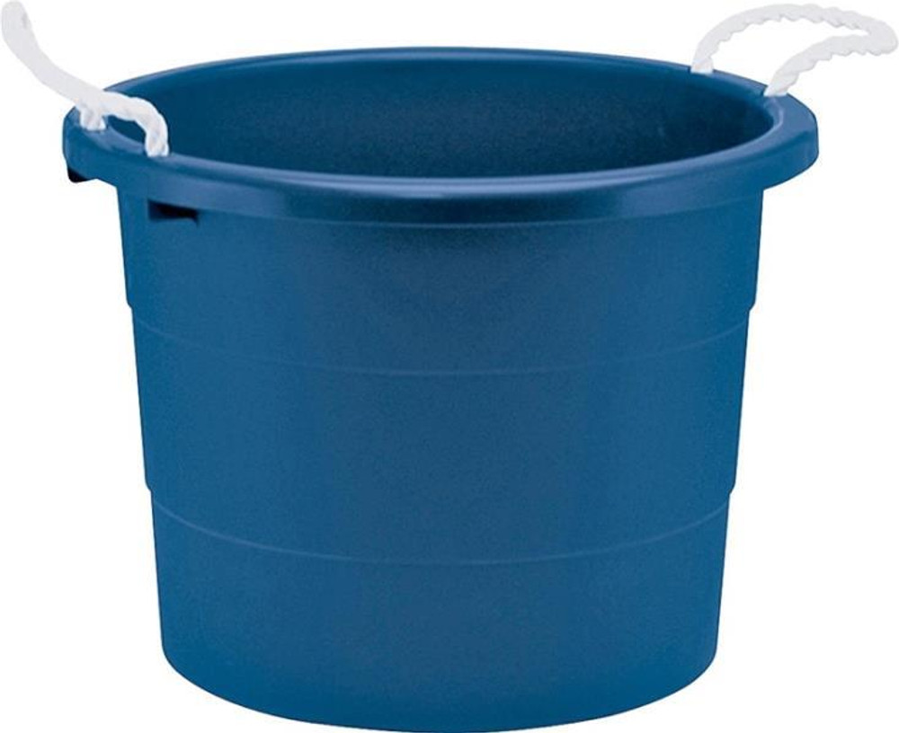 Plastic Tub, 19 Gallon, With Rope Handles, Blue