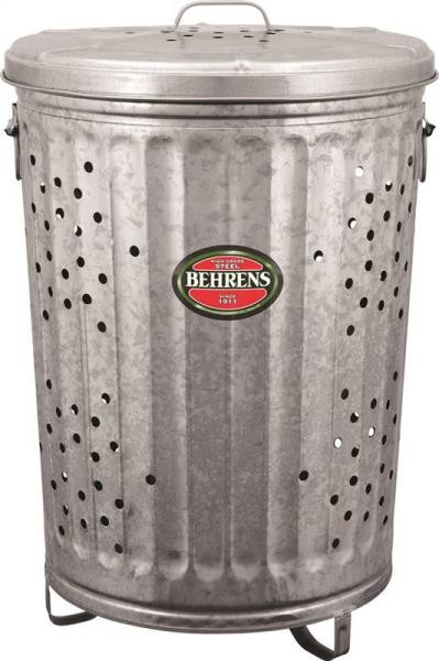 Composter - Burn Barrel, 20 Gallon, Galvanized With Lid