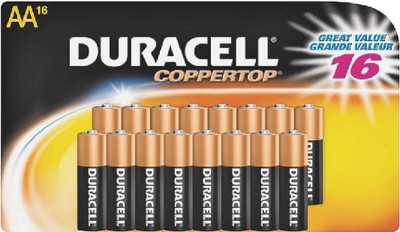 Duracell Model MN1500B16, AA Battery, Alkaline, 1.5 Volt, 16 Pack