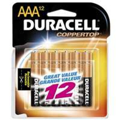 Duracell Model MN24RT12Z, AAA Alkaline Battery, 12 Pack