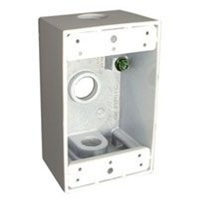 "Outdoor Weatherproof Outlet Box 1 Gang White 1/2"" FPT"