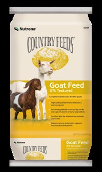 Country Feeds Goat Feed, Textured, 17%, 50 Lb