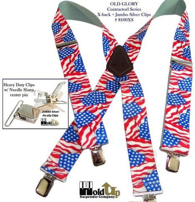 "Hold Up Contractor Series, 2"" Wide, OLD GLORY, Silver Clips"