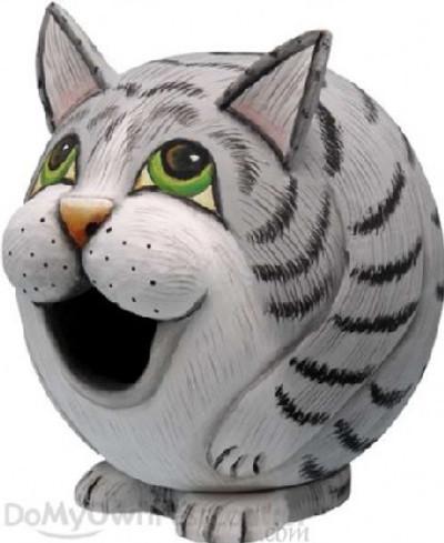 Songbird Gord-O-Birdhouse Tabby Cat