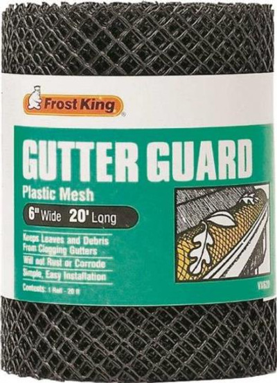 "Gutter Guard, Plastic, Black, 6"" X 20'"