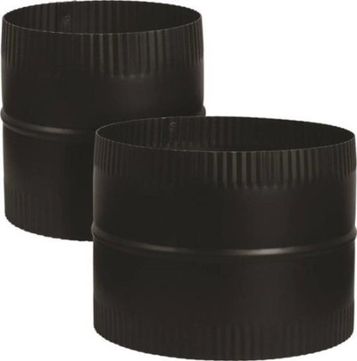 "Stove Pipe, Black, 6"", Coupler, 24 Ga"