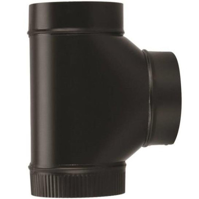 "Stove Pipe, Black, 6"", Tee, 24 Ga"