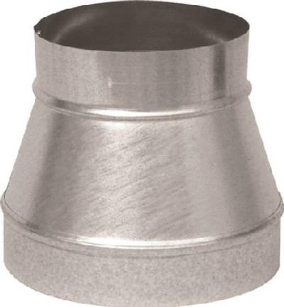"Stove Pipe, Galvanized, Reducer, 7"" x 6"", Uncrimped, 26 ga, Galvanized"