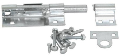 Barrel Bolt, 5 in, Pad Lockable Steel, Zinc Plated