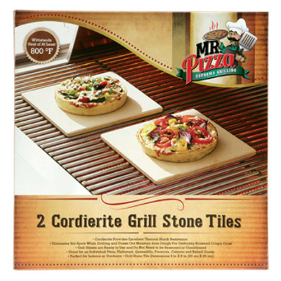 "Pizza Grill Stone, 7.5"" Square, 2 Pack"