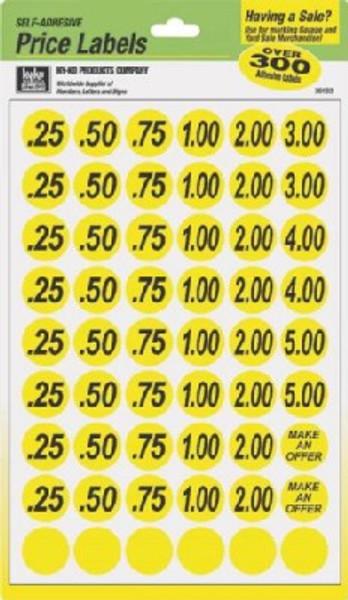 "Yard Sale Price Labels Yellow 3/4"""