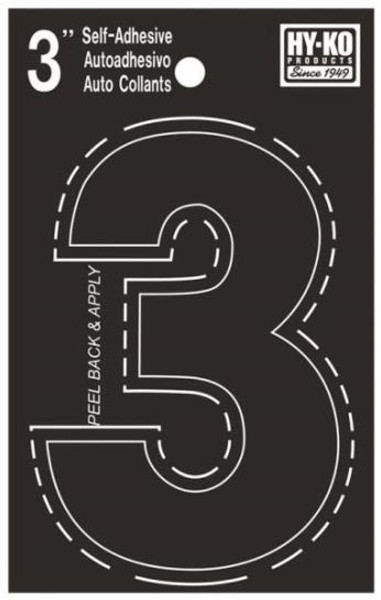 "Boat Number, ""3"", Die Cut, 3"" High"