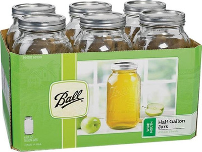 Ball, Canning Jar, 1/2 Gallon, Wide Mouth, 6 Pack