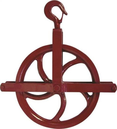 "Gin Wheel, 12"", 3/8"" - 1"" Rope, 1,000 Lb Capacity"