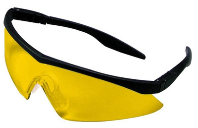 Safety Glasses, Amber Anti-Fog Lens, Black Frame