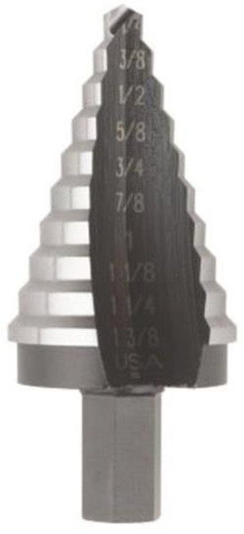 "Step Drill Bit, 1/4"" To 1-3/8"", 10 Steps"