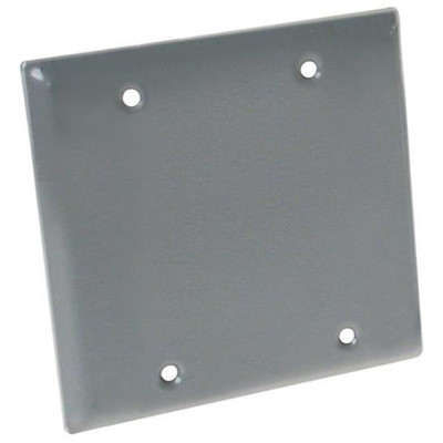 Weatherproof, 2 Gang Blank Cover Plate, Gray