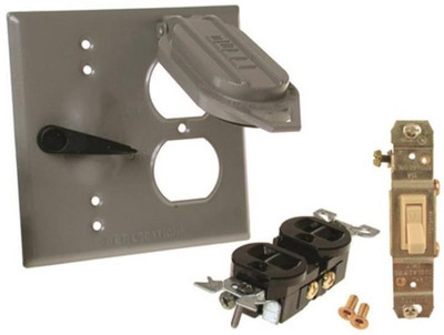 Weatherproof, 2 Gang Cover Plate With SPST Switch & Oulet Kit, Gray