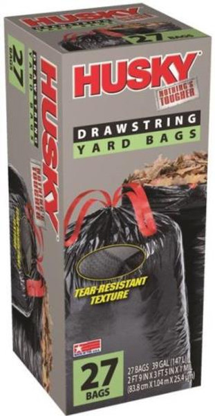 Contractor Yard Trash Bags, 39 Gal, 1 mil, 27 Pack
