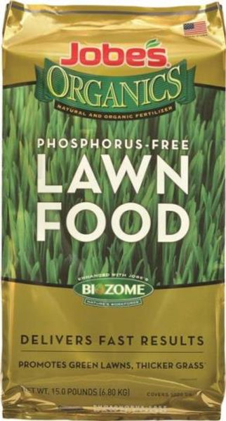 Lawn Fertilizer, Organic, Phosphorus-Free, 5-2-3, 15 Lb