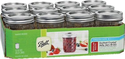 Ball, Canning Jars, Quilted Glass, 8 oz, Regular Mouth, 12 Pack