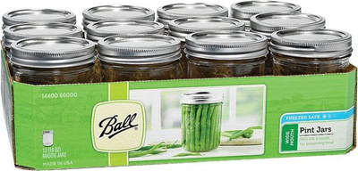 Ball, Canning Jar, Pint, Wide Mouth, 12 Pack