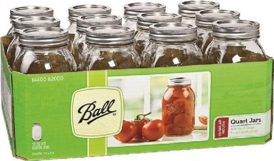Ball, Canning Jar, Quart, Regular Mouth,12 Pack