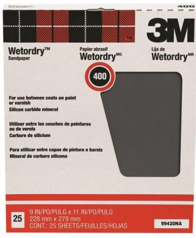 "3M, Wet Or Dry Sandpaper, 400 Grit, 9"" X 11"", 25 Sheets"