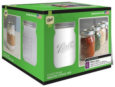 Ball, Canning Jar, Minature Storage, 4 Oz, 4 Pack