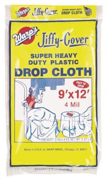 Drop Cloth, 9' x 12', Clear Plastic, 4 Mill