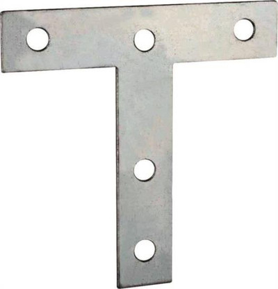 "T Plate, 3"" x 3"", Steel, Zinc Plated"