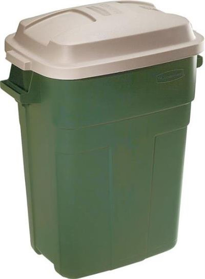 Trash Can, 30 Gallon, Rectangle, Plastic, Green