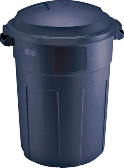 Trash Can, 32 Gallon, With Lid, Slate & Blue