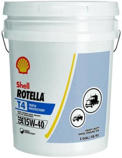 Motor Oil, Rotella, 15W-40, 5 Gal, Heavy Duty Diesel Engine