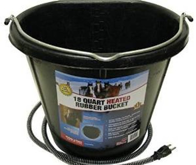 Heated Flat Backed Rubber Bucket, 18 Quart