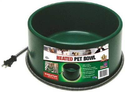Heated Pet Bowl, 1 Gallon Capacity, Green