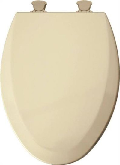 Toilet Seat, Elongated, Bone, Wood, Plastic Hinges