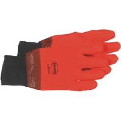 Gloves, PVC Orange Glove, Foam Lined, Large
