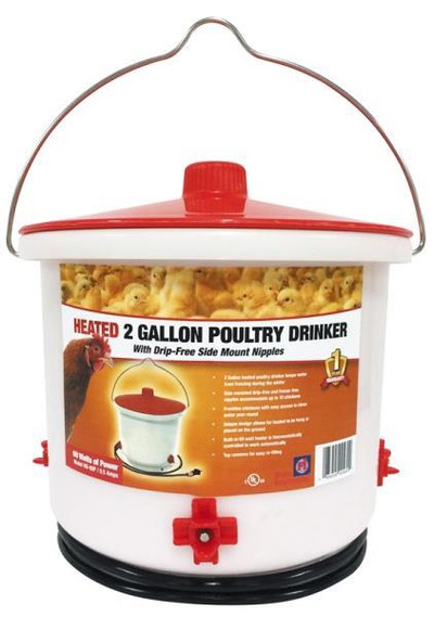 Poultry Drinker, Heated, 2 Gallon