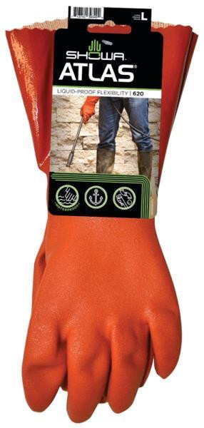 Gloves, Atlas 620, PVC Coated, Cotton Lined, Large