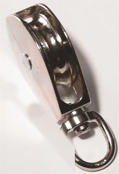 "Swivel Pulley, 1"", Single Wheel, Chrome Plated"