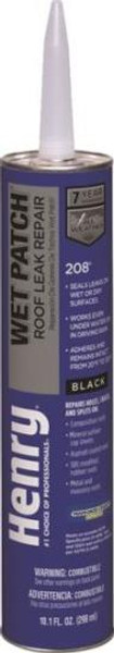 Henry, Wet Dry Roof Cement, Black, Cartridge, 10 Oz